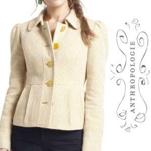 Anthropologie Tabitha Yellow Blazer Coat